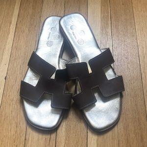 Deneri Positano Leather Sandal Slides  Sz. 40